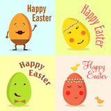 lyckliga easter Vektorillustration av roliga ägg Fotografering för Bildbyråer