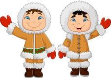 Lyckliga eskimåungar för tecknad film som vinkar handen stock illustrationer