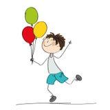 Lyckliga färgrika ballonger för för pojkespring och innehav i hans hand vektor illustrationer