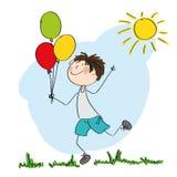 Lyckliga färgrika ballonger för för pojkespring och innehav i hans hand stock illustrationer