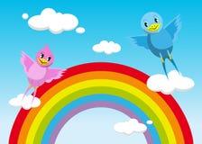 Lyckliga fåglar som flyger på regnbågen vektor illustrationer