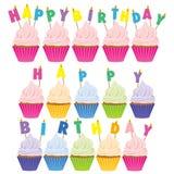 lyckliga födelsedagmuffiner royaltyfri illustrationer