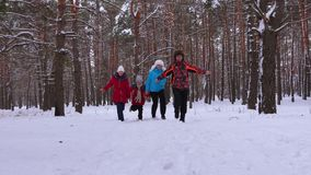 Lyckliga föräldrar och barn som körs längs den snöig vintervägen i barrträds-, parkerar och skrattar på frostig dag för vinter Fa lager videofilmer