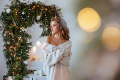 Lyckliga förälskelsepar firar julferier royaltyfri foto