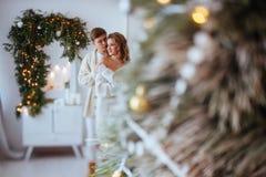 Lyckliga förälskelsepar firar julferier royaltyfri bild
