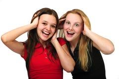 lyckliga förvånada två kvinnor Royaltyfri Fotografi
