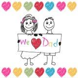 Lyckliga faderns dag lurar vektorn Vi älskar dig farsafaderns illustrationen för kortet för hälsningen för doddle för dag Royaltyfria Bilder