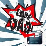 Lyckliga faders dag med radion Arkivbild