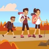 Lyckliga familjfotvandrare Farsa, mamma och son som trekking stock illustrationer