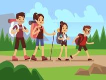 Lyckliga familjfotvandrare Höst som trekking utomhus- affärsföretagvektorbegrepp royaltyfri illustrationer
