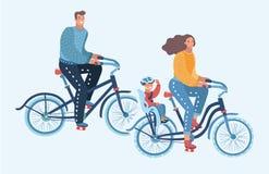 Lyckliga familjridningcyklar vektor illustrationer
