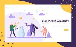 Lyckliga familjtecken som spelar för att kasta snöboll på vinterferier som landar sidamallen Spela för moder, för fader och för u royaltyfri illustrationer