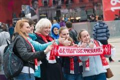 Lyckliga fans av Spartak Arkivbild
