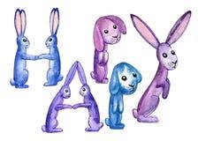 LYCKLIGA fem blått-lilor kaniner dekorerar