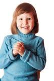 Lyckliga fem år flickastående Arkivfoton