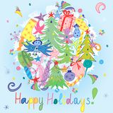 Lyckliga ferier! Färgrik hand dragen rolig klotterferieuppsättning med godisar, gåvor, stearinljuset, granträd, ängel, stjärnor o Arkivbild