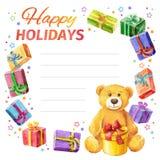 Lyckliga ferier för kort ram av gåvor och Teddy Bear vattenfärg Fotografering för Bildbyråer