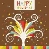 Lyckliga ferier. Hälsningkort med det kulöra trädet Royaltyfri Fotografi