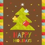 Lyckliga ferier. Hälsningkort med julträdet. Royaltyfria Bilder