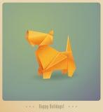 Lyckliga ferier! Hälsningkort Origami hund Fotografering för Bildbyråer