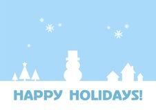 Lyckliga ferier - hälsningkort/vinterbakgrund Arkivfoton