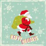 Lyckliga ferier med Santa Claus Arkivfoto