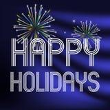 Lyckliga ferier på mörker - blå bakgrund med fyrverkerier eps10 Arkivfoton