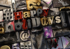 Lyckliga ferier! på retro trätryck firar kvarter festien Vektor Illustrationer