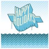 lyckliga ferier som banret kan, använder färgrika illustrationer dig stock illustrationer