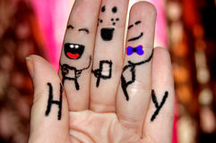 lyckliga fingrar Arkivfoto