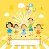 lyckliga fira barn stock illustrationer