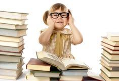 lyckliga flickaexponeringsglas för svarta böcker little som slitage Royaltyfri Bild