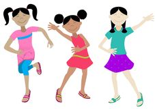 lyckliga flickor Arkivfoto