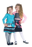 Lyckliga flickor står tillsammans Royaltyfri Fotografi