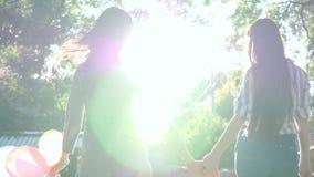 Lyckliga flickvänner med långa hårinnehavhänder med färgrika ballonger har gyckel in att parkera på en bakgrund av gröna träd arkivfilmer