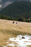 Lyckliga fotvandra par som tar ett avbrott på bergslinga Royaltyfria Bilder