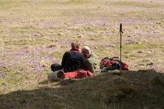 Lyckliga fotvandra par som tar ett avbrott på bergslinga i den Chocholowska dalen, Tatra, Arkivfoto