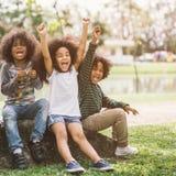 Lyckliga framsidaafrikansk amerikanungar Fotografering för Bildbyråer