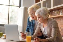 Lyckliga gamla damer som läser recept från internet royaltyfria bilder