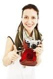 lyckliga gammala visande tum för kameraflicka upp Arkivfoto