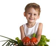 lyckliga grönsaker för barn Arkivbild