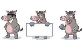 Lyckliga Gray Wild Pig Mascot Fotografering för Bildbyråer