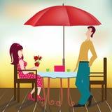 Lyckliga härliga män och kvinnor på romantiskt datum royaltyfri illustrationer