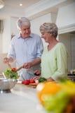 Lyckliga höga par som förbereder grönsaksallad Royaltyfri Foto