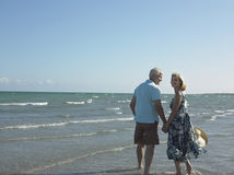 Lyckliga höga par som går på stranden Arkivbilder