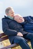 Lyckliga höga par som tillsammans kopplar av i solskenet royaltyfria foton