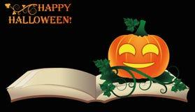 lyckliga halloween Öppna den gamla boken med pumpa Arkivbild