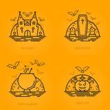 Lyckliga halloween begreppssymboler i linjen stil med gravar för kistan för pumpa för slagträmånekitteln rockerar kyrkan Royaltyfri Fotografi