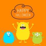 lyckliga halloween Färgrik uppsättning för monster tre Head framsida Läskigt tecken för gullig tecknad film Behandla som ett barn royaltyfri illustrationer