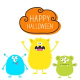 lyckliga halloween Färgrik uppsättning för monster tre Head framsida Läskigt tecken för gullig tecknad film Behandla som ett barn vektor illustrationer
